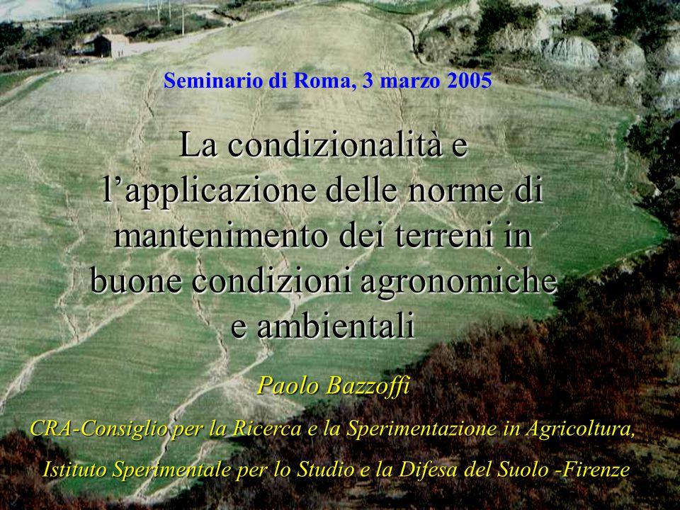 Paolo Bazzoffi CRA-Consiglio per la Ricerca e la Sperimentazione in Agricoltura, Istituto Sperimentale per lo Studio e la Difesa del Suolo -Firenze Is