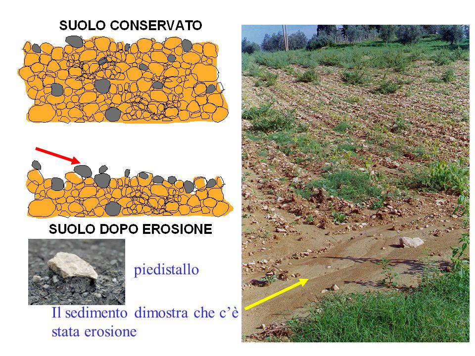 Il sedimento dimostra che c'è stata erosione piedistallo