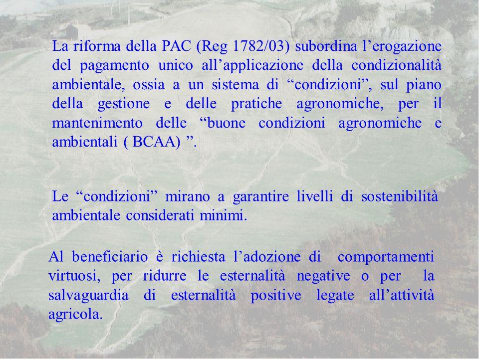La riforma della PAC (Reg 1782/03) subordina l'erogazione del pagamento unico all'applicazione della condizionalità ambientale, ossia a un sistema di