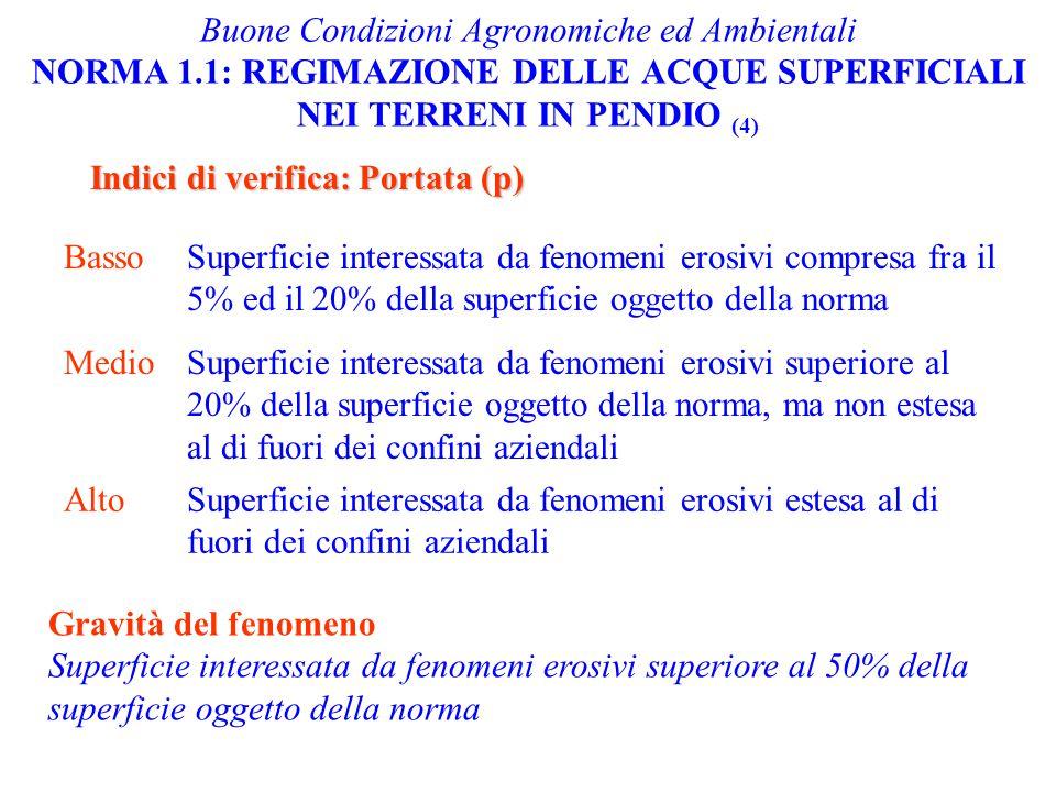 Buone Condizioni Agronomiche ed Ambientali NORMA 1.1: REGIMAZIONE DELLE ACQUE SUPERFICIALI NEI TERRENI IN PENDIO (4) Indici di verifica: Portata (p) B