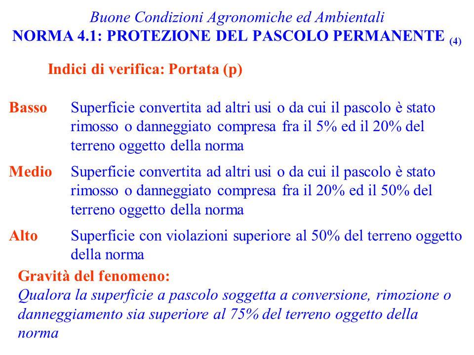 Indici di verifica: Portata (p) Buone Condizioni Agronomiche ed Ambientali NORMA 4.1: PROTEZIONE DEL PASCOLO PERMANENTE (4) BassoSuperficie convertita