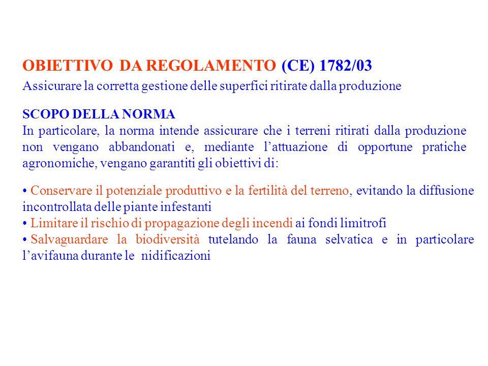 OBIETTIVO DA REGOLAMENTO (CE) 1782/03 Assicurare la corretta gestione delle superfici ritirate dalla produzione SCOPO DELLA NORMA In particolare, la n