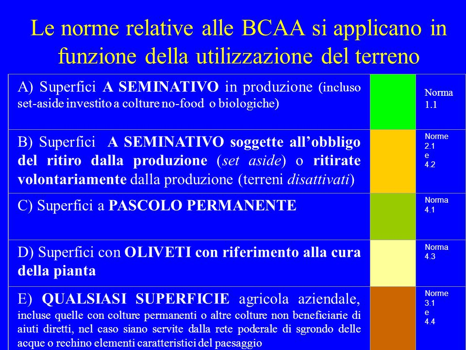 Buone Condizioni Agronomiche ed Ambientali NORMA 1.1: REGIMAZIONE DELLE ACQUE SUPERFICIALI NEI TERRENI IN PENDIO (3) CHE COSA SARÀ OGGETTO DI CONTROLLO.