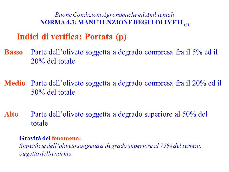 Buone Condizioni Agronomiche ed Ambientali NORMA 4.3: MANUTENZIONE DEGLI OLIVETI (4) Indici di verifica: Portata (p) BassoParte dell'oliveto soggetta