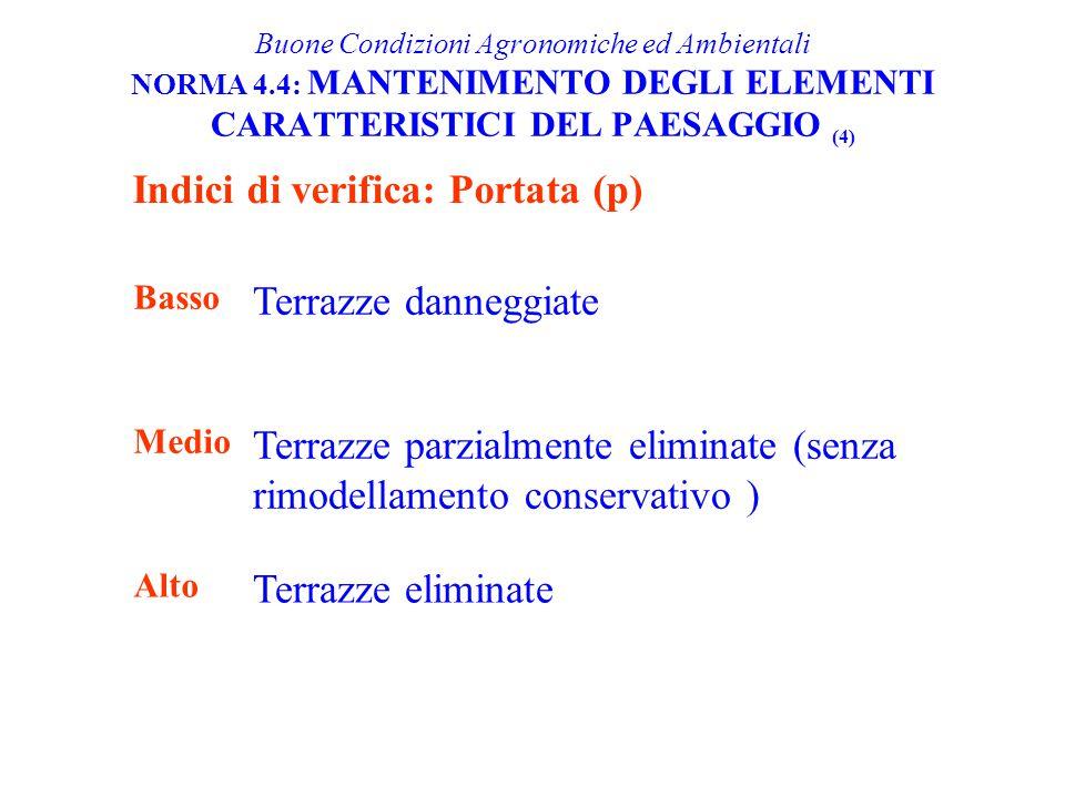 Buone Condizioni Agronomiche ed Ambientali NORMA 4.4: MANTENIMENTO DEGLI ELEMENTI CARATTERISTICI DEL PAESAGGIO (4) Indici di verifica: Portata (p) Bas