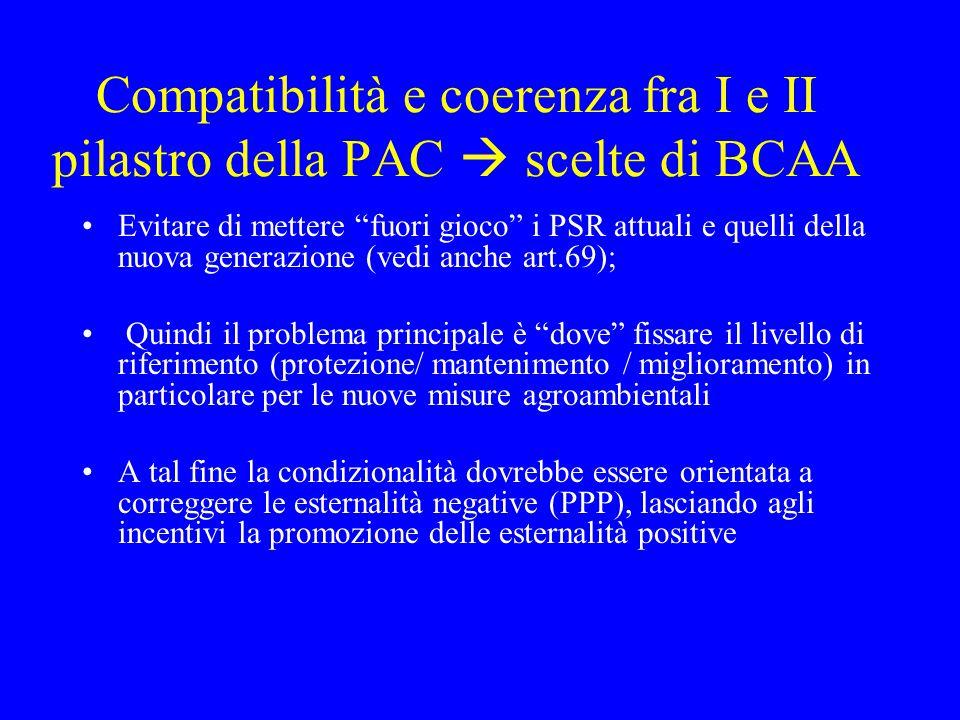 """Compatibilità e coerenza fra I e II pilastro della PAC  scelte di BCAA Evitare di mettere """"fuori gioco"""" i PSR attuali e quelli della nuova generazion"""
