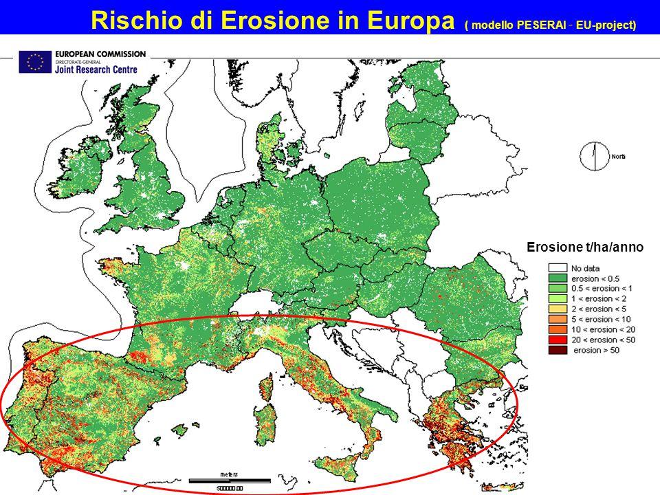 Rischio di Erosione in Europa ( modello PESERAl - EU-project) Erosione t/ha/anno
