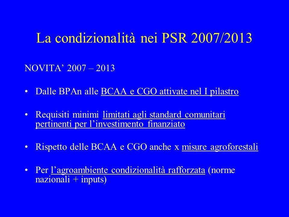 La condizionalità nei PSR 2007/2013 NOVITA' 2007 – 2013 Dalle BPAn alle BCAA e CGO attivate nel I pilastro Requisiti minimi limitati agli standard com