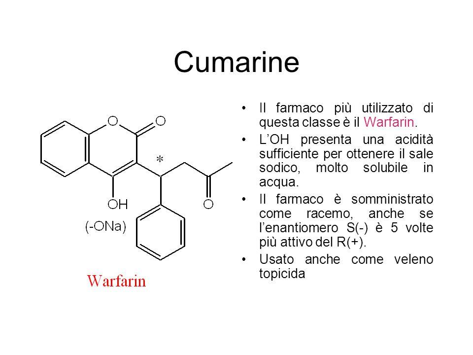 Cumarine Il farmaco più utilizzato di questa classe è il Warfarin. L'OH presenta una acidità sufficiente per ottenere il sale sodico, molto solubile i