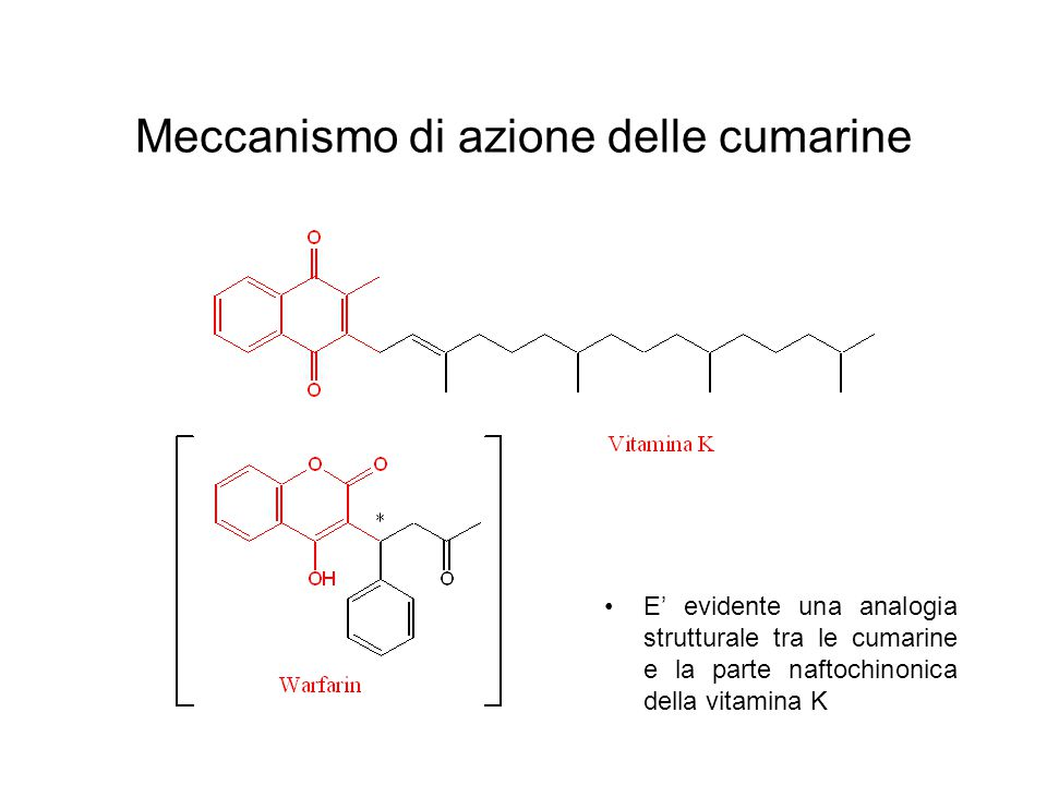 Meccanismo di azione delle cumarine E' evidente una analogia strutturale tra le cumarine e la parte naftochinonica della vitamina K