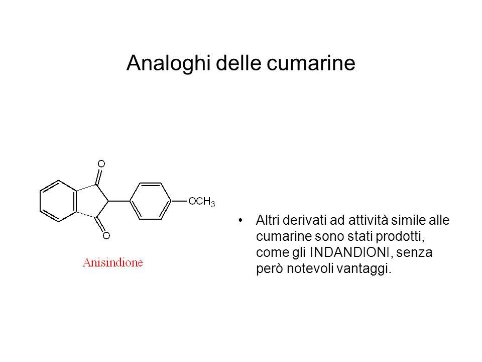 Analoghi delle cumarine Altri derivati ad attività simile alle cumarine sono stati prodotti, come gli INDANDIONI, senza però notevoli vantaggi.