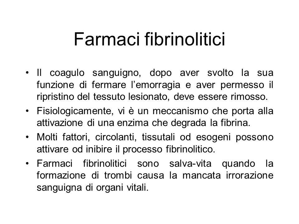 Farmaci fibrinolitici Il coagulo sanguigno, dopo aver svolto la sua funzione di fermare l'emorragia e aver permesso il ripristino del tessuto lesionat