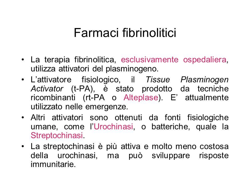 Farmaci fibrinolitici La terapia fibrinolitica, esclusivamente ospedaliera, utilizza attivatori del plasminogeno. L'attivatore fisiologico, il Tissue