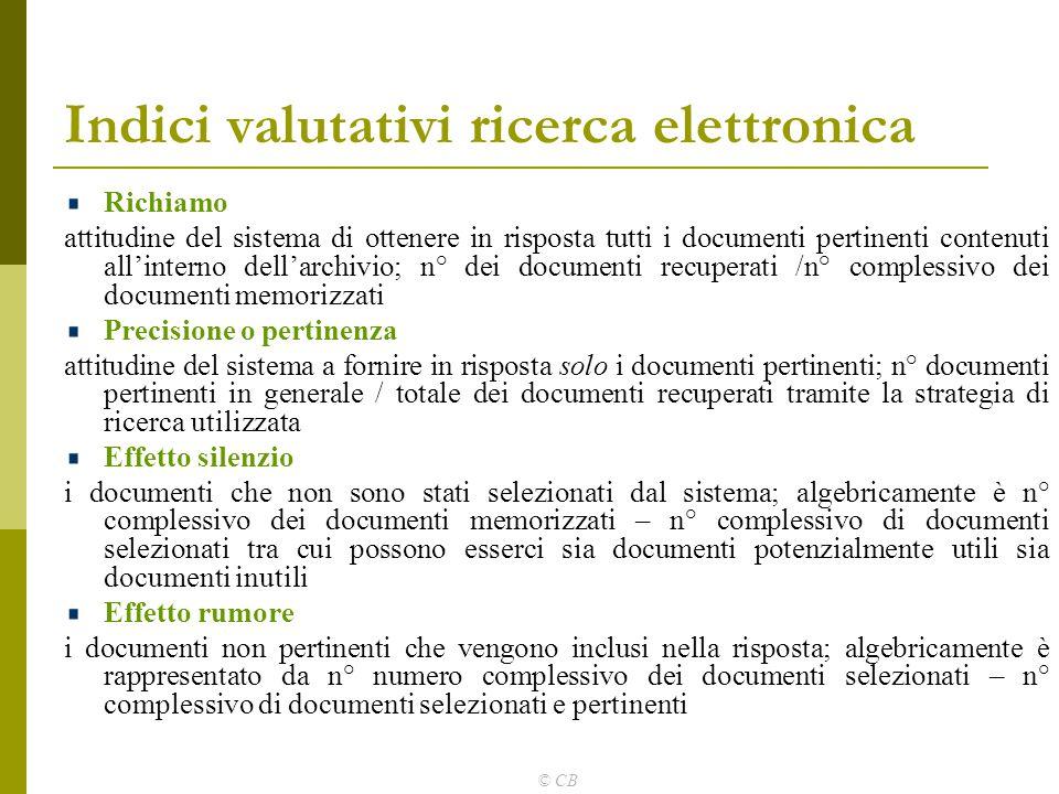 © CB Indici valutativi ricerca elettronica Richiamo attitudine del sistema di ottenere in risposta tutti i documenti pertinenti contenuti all'interno