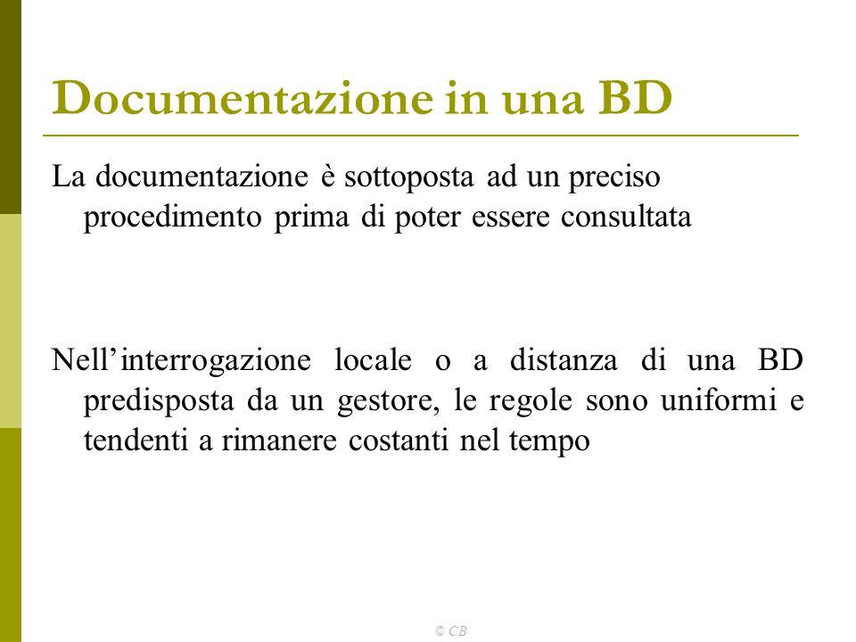 © CB La documentazione è sottoposta ad un preciso procedimento prima di poter essere consultata Nell'interrogazione locale o a distanza di una BD pred