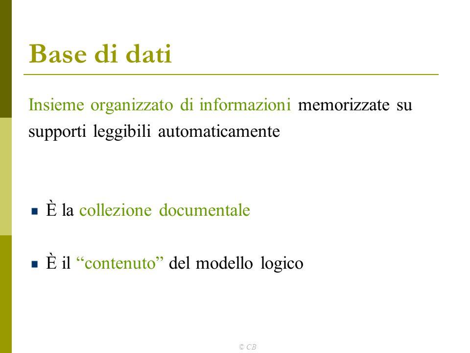 """© CB Base di dati Insieme organizzato di informazioni memorizzate su supporti leggibili automaticamente È la collezione documentale È il """"contenuto"""" d"""
