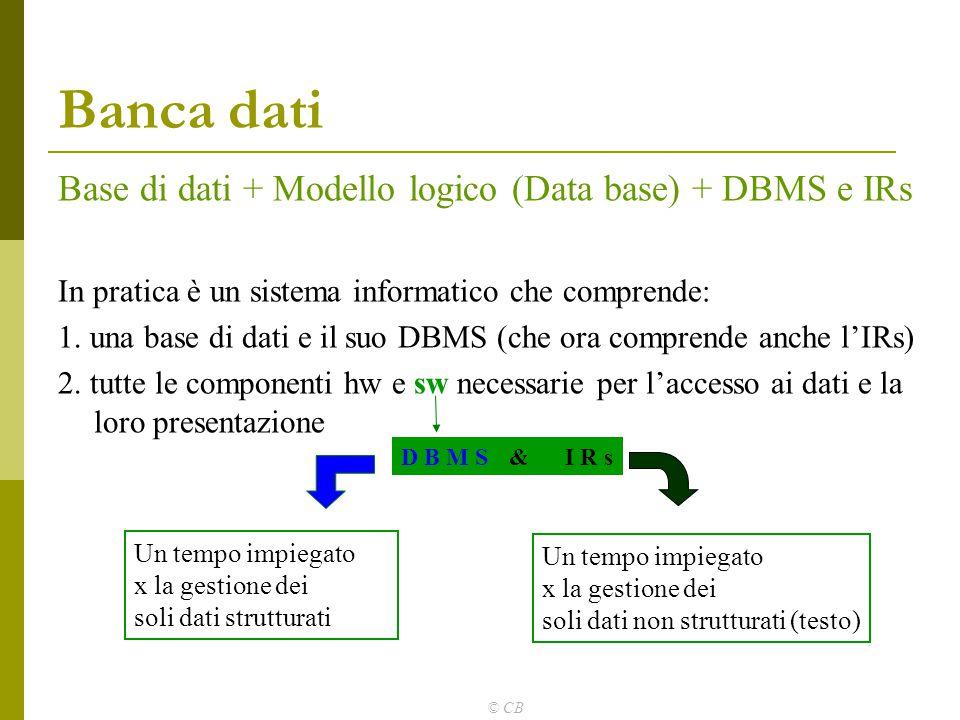 © CB Banca dati Base di dati + Modello logico (Data base) + DBMS e IRs In pratica è un sistema informatico che comprende: 1. una base di dati e il suo