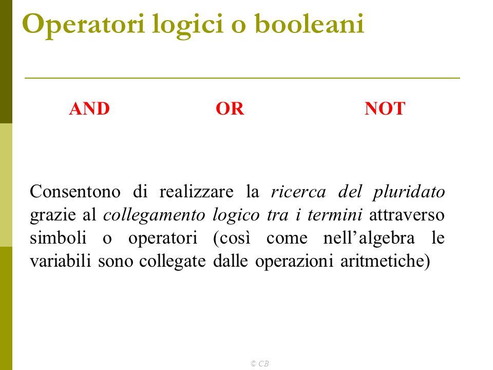 © CB Operatori logici o booleani AND OR NOT Consentono di realizzare la ricerca del pluridato grazie al collegamento logico tra i termini attraverso s