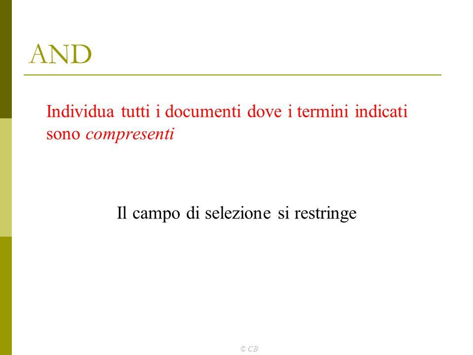 © CB AND Individua tutti i documenti dove i termini indicati sono compresenti Il campo di selezione si restringe