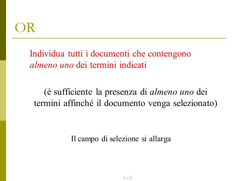 © CB OR Individua tutti i documenti che contengono almeno uno dei termini indicati (è sufficiente la presenza di almeno uno dei termini affinché il do
