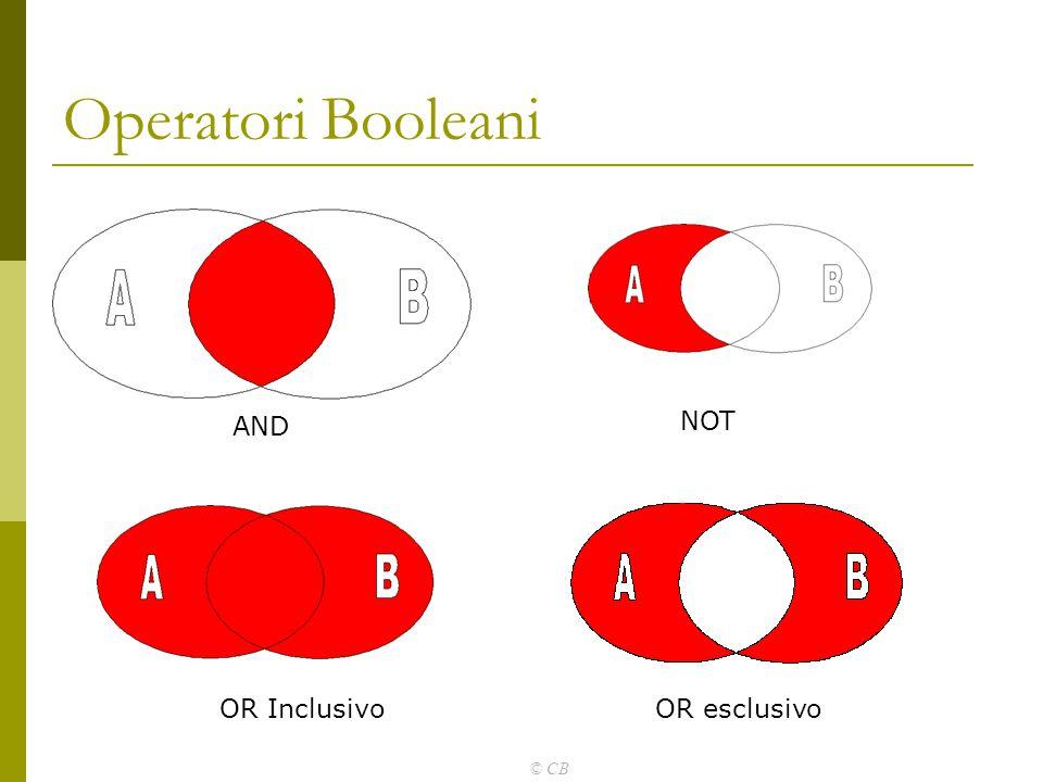 © CB Operatori Booleani AND NOT OR InclusivoOR esclusivo
