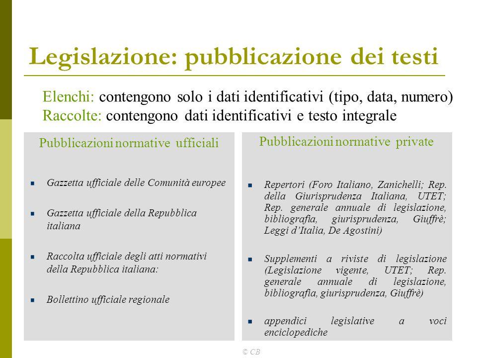 © CB Legislazione: pubblicazione dei testi Pubblicazioni normative ufficiali Gazzetta ufficiale delle Comunità europee Gazzetta ufficiale della Repubb