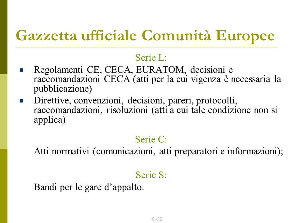 © CB Gazzetta ufficiale Comunità Europee Serie L: Regolamenti CE, CECA, EURATOM, decisioni e raccomandazioni CECA (atti per la cui vigenza è necessari