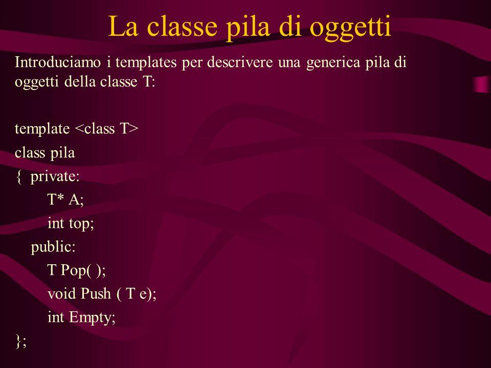 La classe pila di oggetti Introduciamo i templates per descrivere una generica pila di oggetti della classe T: template class pila { private: T* A; int top; public: T Pop( ); void Push ( T e); int Empty; };