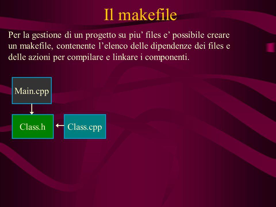 Il makefile Per la gestione di un progetto su piu' files e' possibile creare un makefile, contenente l'elenco delle dipendenze dei files e delle azioni per compilare e linkare i componenti.
