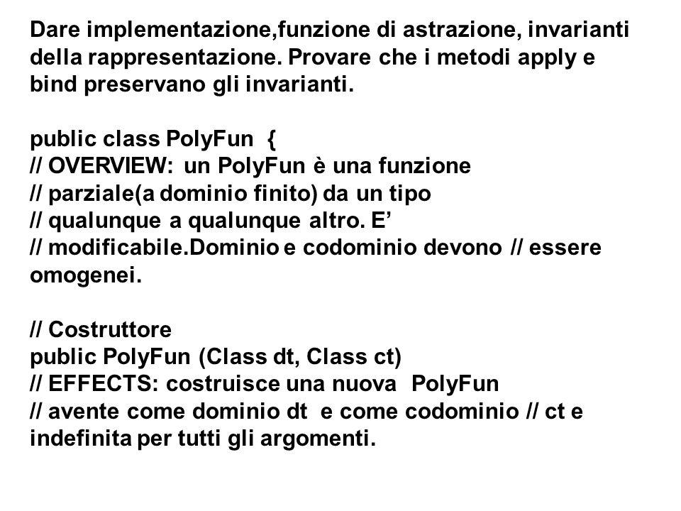 Principio di sostituzione Dire se la specifica della seguente sottoclasse di PolyFun soddisfa il principio di sostituzione