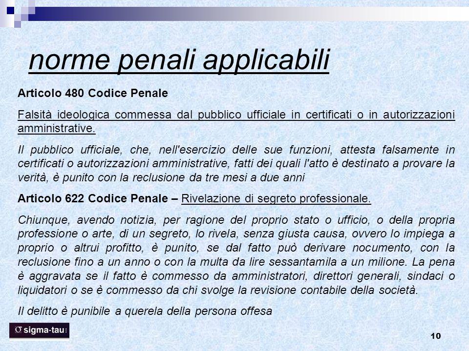 10 norme penali applicabili Articolo 480 Codice Penale Falsità ideologica commessa dal pubblico ufficiale in certificati o in autorizzazioni amministr
