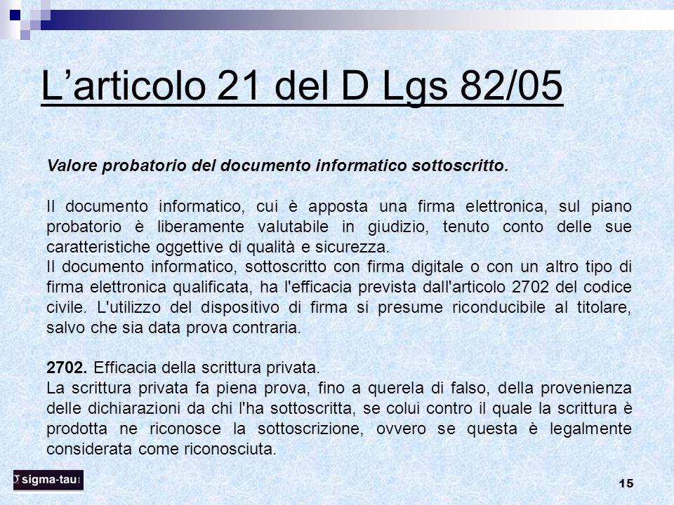 15 L'articolo 21 del D Lgs 82/05 Valore probatorio del documento informatico sottoscritto. Il documento informatico, cui è apposta una firma elettroni