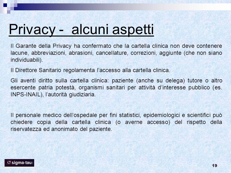 19 Privacy - alcuni aspetti Il Garante della Privacy ha confermato che la cartella clinica non deve contenere lacune, abbreviazioni, abrasioni, cancel