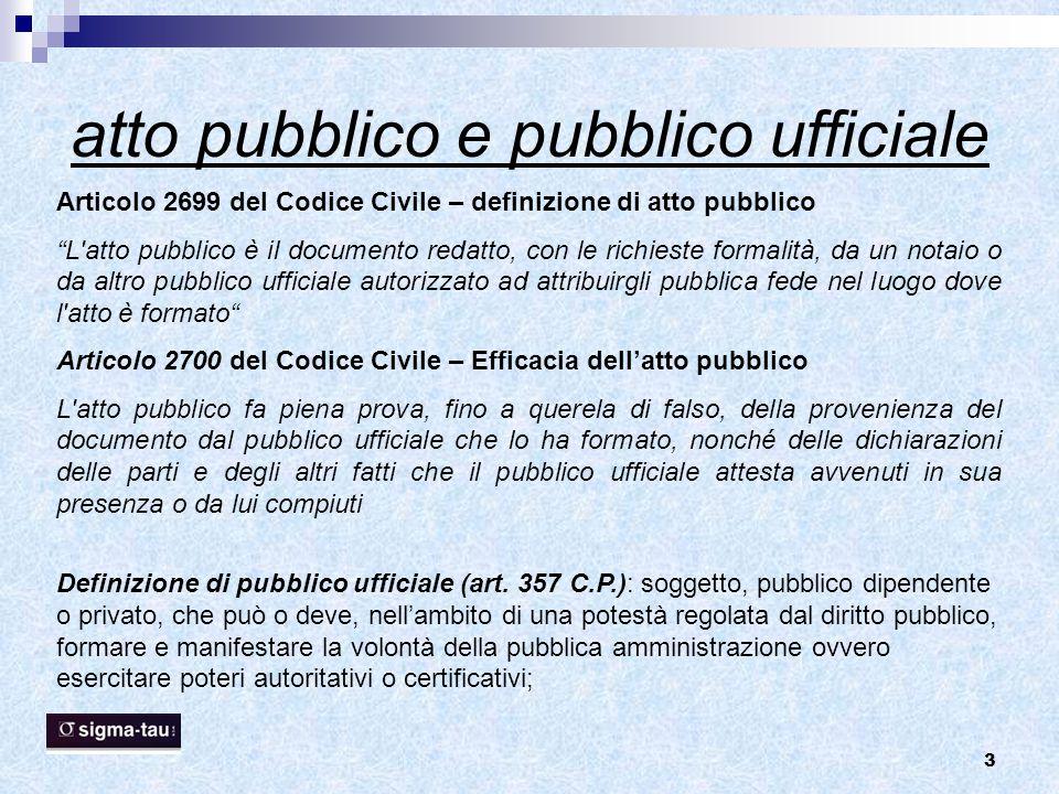 """3 atto pubblico e pubblico ufficiale Articolo 2699 del Codice Civile – definizione di atto pubblico """"L'atto pubblico è il documento redatto, con le ri"""
