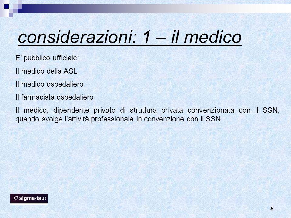 5 considerazioni: 1 – il medico E' pubblico ufficiale: Il medico della ASL Il medico ospedaliero Il farmacista ospedaliero Il medico, dipendente priva