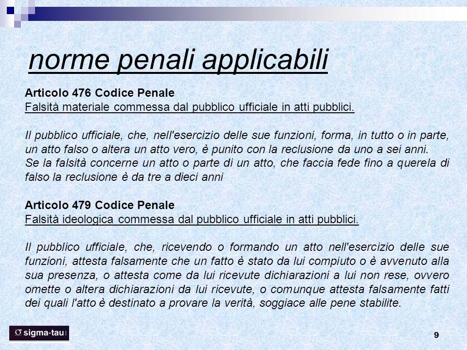 9 norme penali applicabili Articolo 476 Codice Penale Falsità materiale commessa dal pubblico ufficiale in atti pubblici. Il pubblico ufficiale, che,