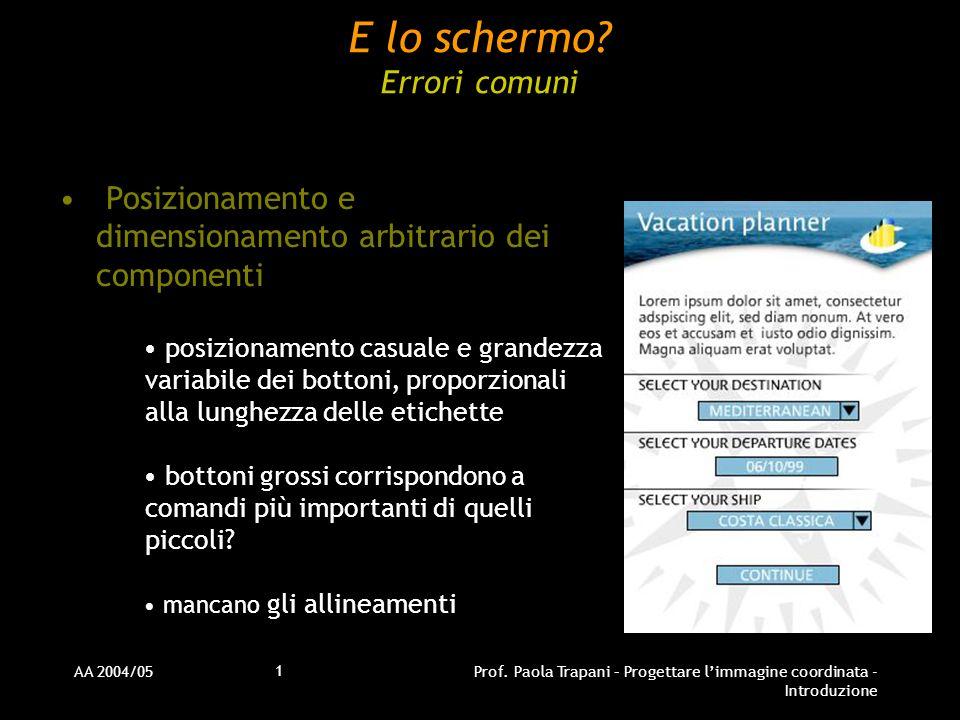 AA 2004/05Prof. Paola Trapani – Progettare l'immagine coordinata - Introduzione 1 E lo schermo.