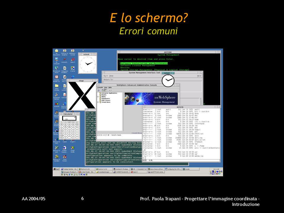 AA 2004/05Prof. Paola Trapani – Progettare l'immagine coordinata - Introduzione 6 E lo schermo.