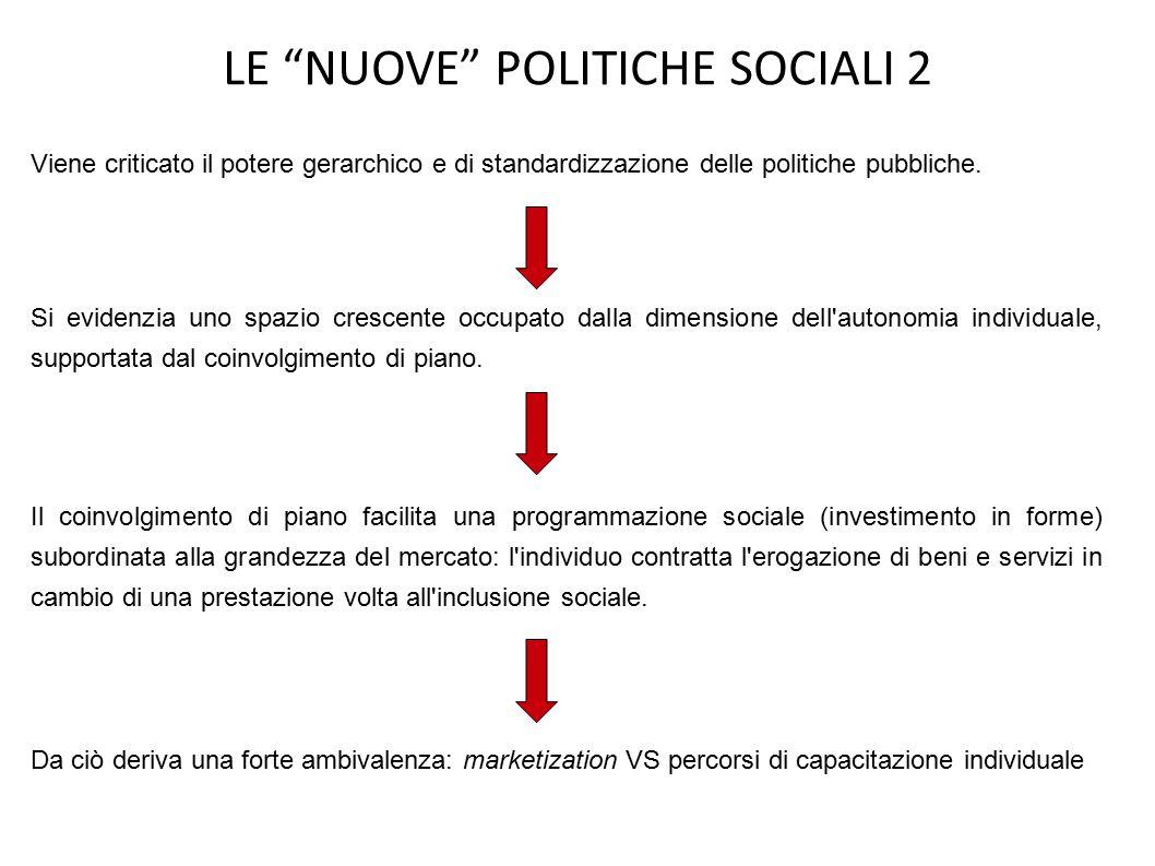LE NUOVE POLITICHE SOCIALI 2 Viene criticato il potere gerarchico e di standardizzazione delle politiche pubbliche.