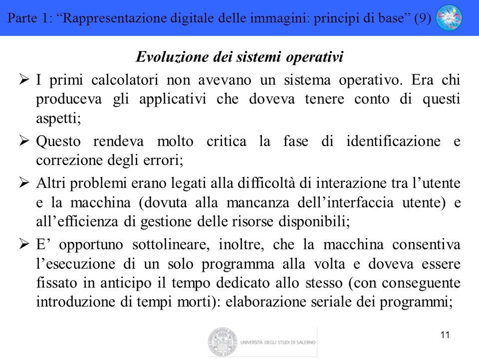 """11 Parte 1: """"Rappresentazione digitale delle immagini: principi di base"""" (9) Evoluzione dei sistemi operativi  I primi calcolatori non avevano un sis"""