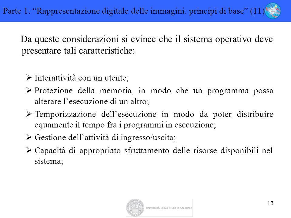 """13 Parte 1: """"Rappresentazione digitale delle immagini: principi di base"""" (11) Da queste considerazioni si evince che il sistema operativo deve present"""