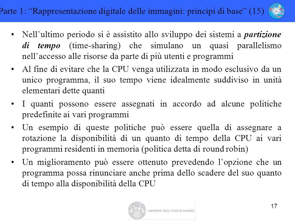 """17 Parte 1: """"Rappresentazione digitale delle immagini: principi di base"""" (15) Nell'ultimo periodo si è assistito allo sviluppo dei sistemi a partizion"""
