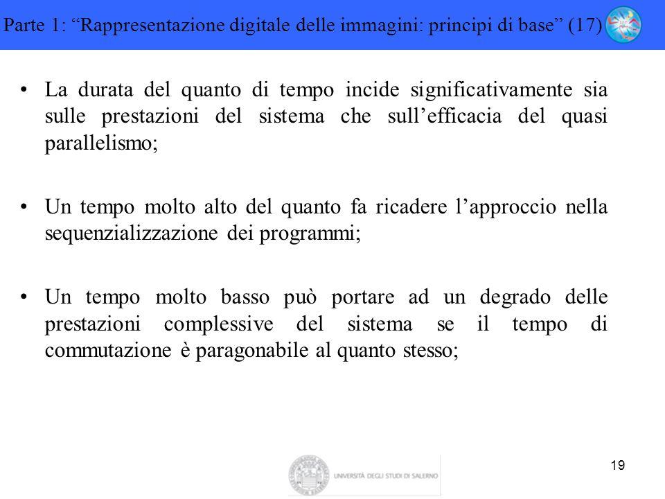 """19 Parte 1: """"Rappresentazione digitale delle immagini: principi di base"""" (17) La durata del quanto di tempo incide significativamente sia sulle presta"""