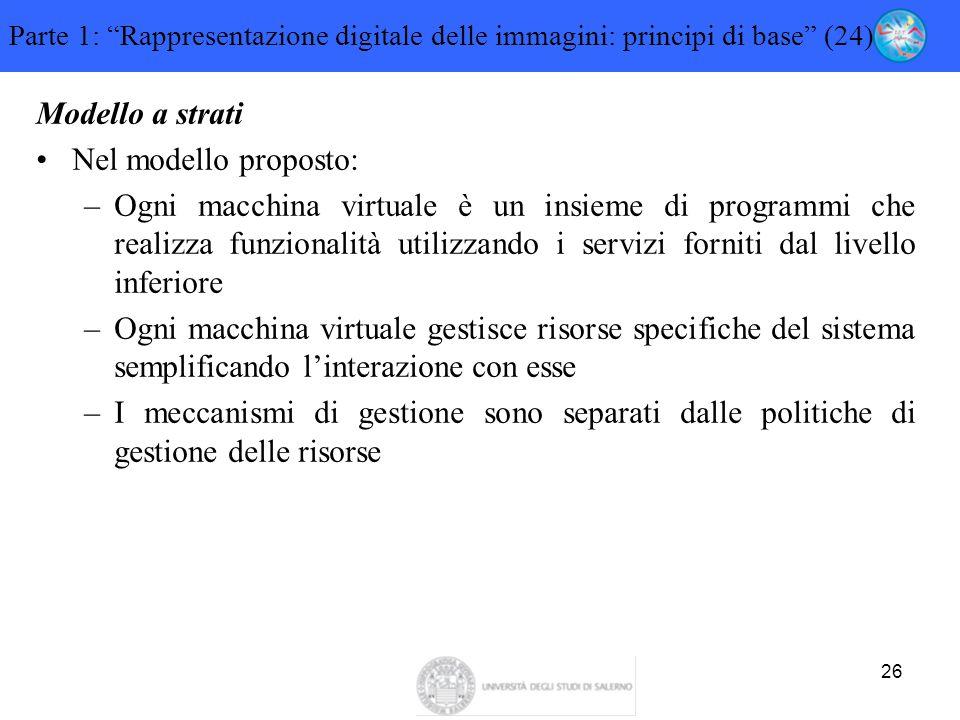 """26 Parte 1: """"Rappresentazione digitale delle immagini: principi di base"""" (24) Modello a strati Nel modello proposto: –Ogni macchina virtuale è un insi"""
