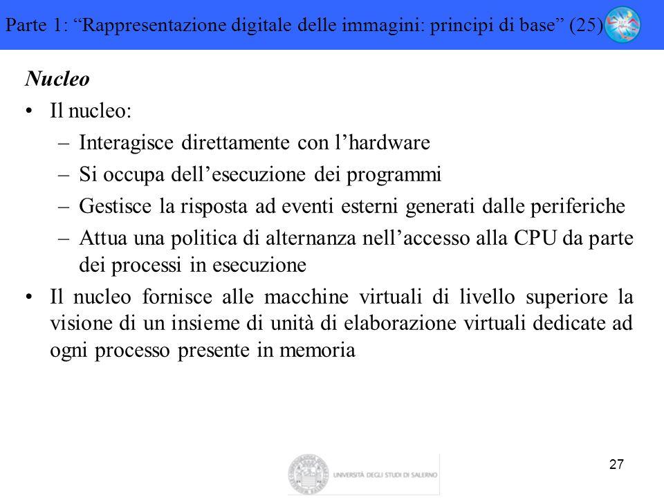"""27 Parte 1: """"Rappresentazione digitale delle immagini: principi di base"""" (25) Nucleo Il nucleo: –Interagisce direttamente con l'hardware –Si occupa de"""