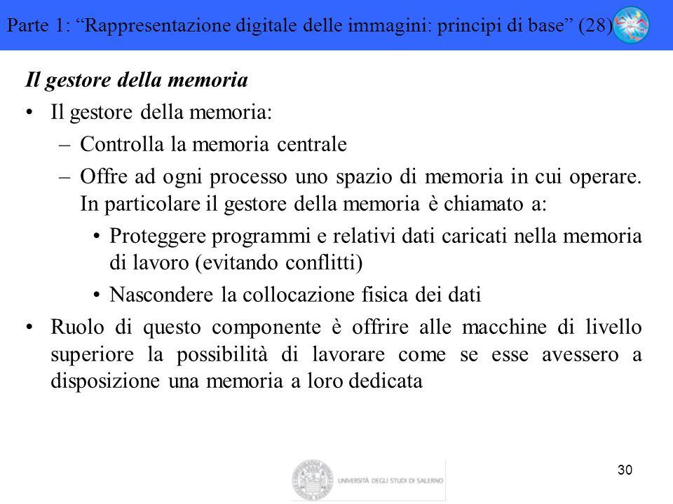 """30 Parte 1: """"Rappresentazione digitale delle immagini: principi di base"""" (28) Il gestore della memoria Il gestore della memoria: –Controlla la memoria"""