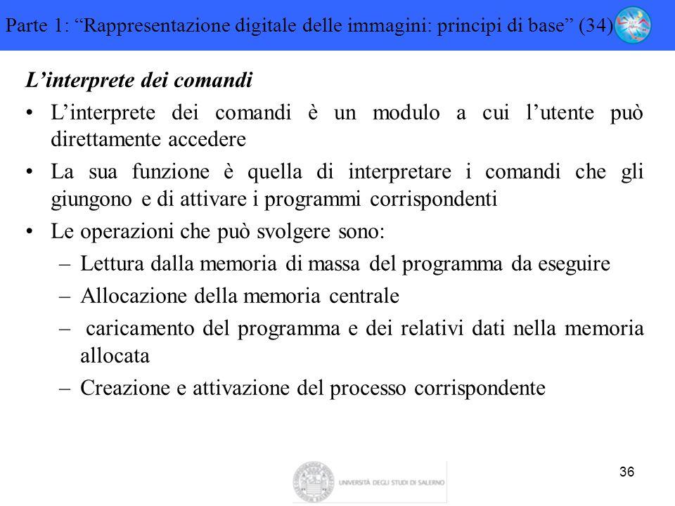"""36 Parte 1: """"Rappresentazione digitale delle immagini: principi di base"""" (34) L'interprete dei comandi L'interprete dei comandi è un modulo a cui l'ut"""