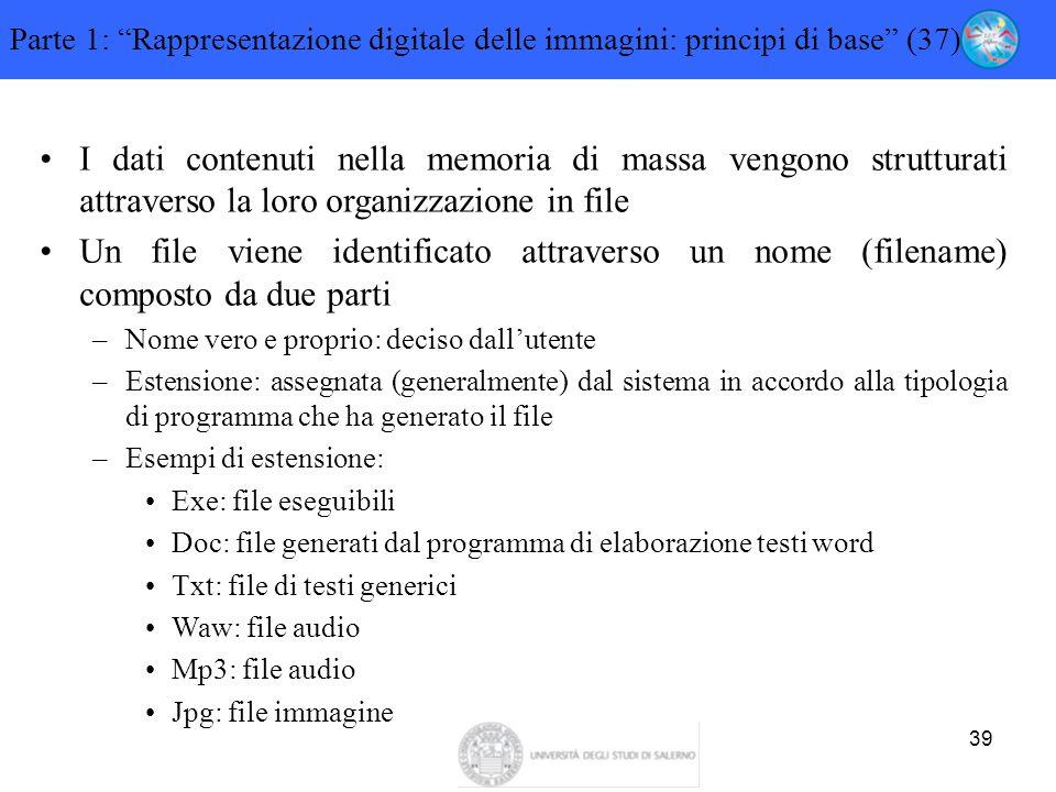 """39 Parte 1: """"Rappresentazione digitale delle immagini: principi di base"""" (37) I dati contenuti nella memoria di massa vengono strutturati attraverso l"""