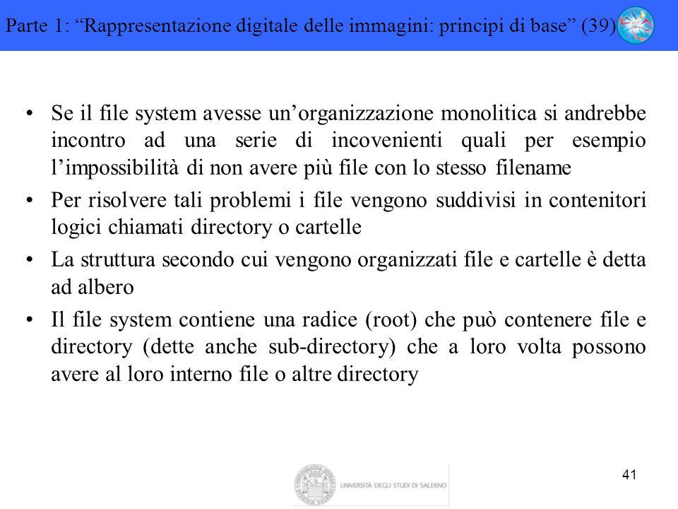 """41 Parte 1: """"Rappresentazione digitale delle immagini: principi di base"""" (39) Se il file system avesse un'organizzazione monolitica si andrebbe incont"""