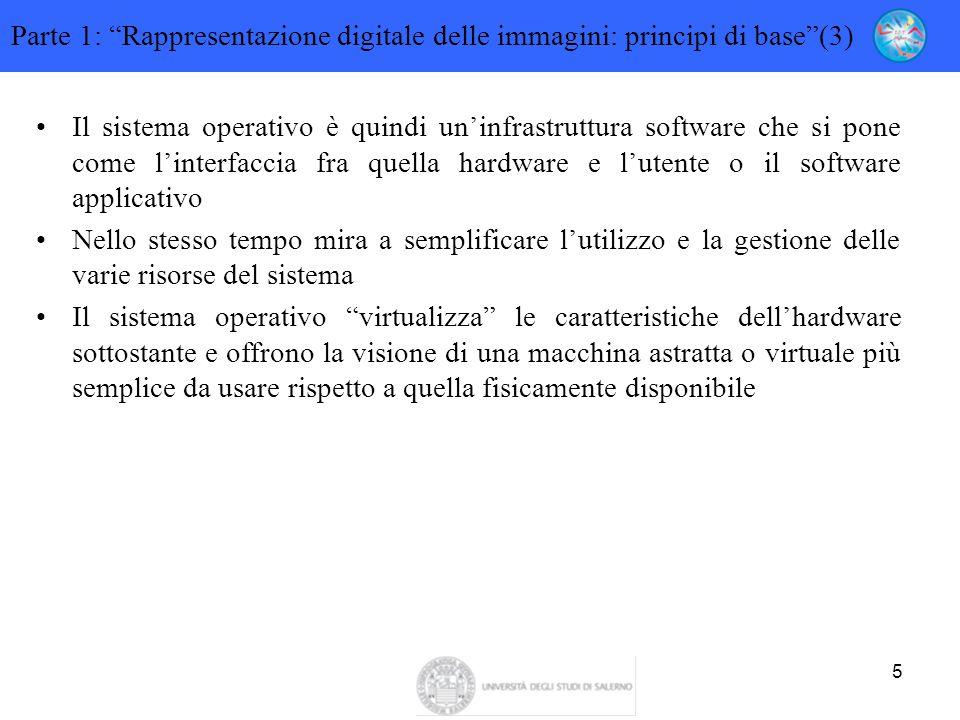 """5 Parte 1: """"Rappresentazione digitale delle immagini: principi di base""""(3) Il sistema operativo è quindi un'infrastruttura software che si pone come l"""